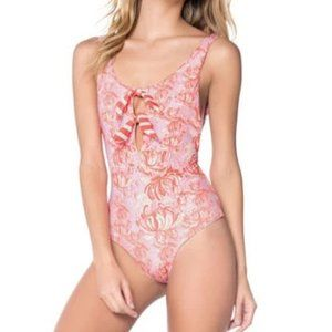 NWT Palmacea lilac & red floral one piece swimsuit